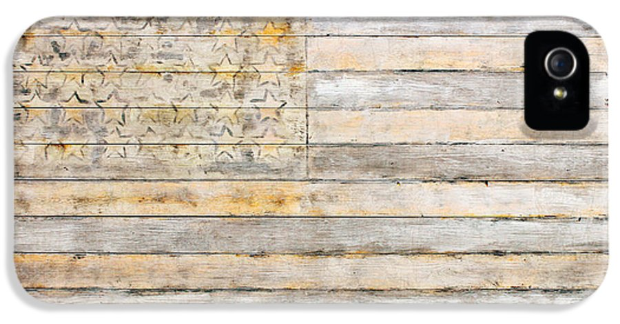 American IPhone 5 / 5s Case featuring the mixed media American Flag On Distressed Wood Beams White Yellow Gray And Brown Flag by Design Turnpike