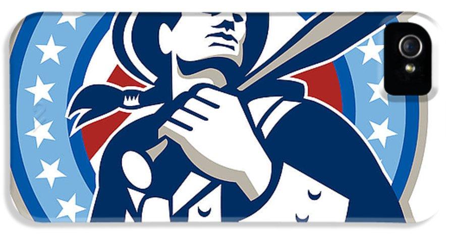 American IPhone 5 / 5s Case featuring the digital art American Patriot Baseball Bat Retro by Aloysius Patrimonio