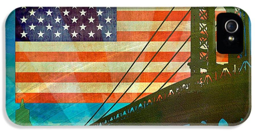 Digital IPhone 5 / 5s Case featuring the digital art American Pride by Bedros Awak