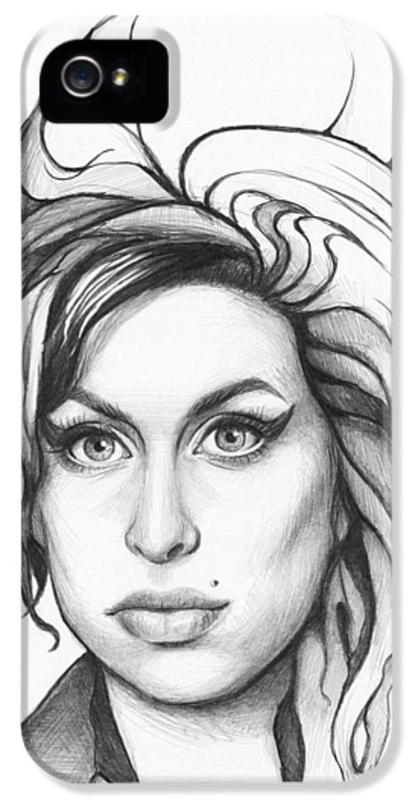 Amy IPhone 5 / 5s Case featuring the drawing Amy Winehouse by Olga Shvartsur
