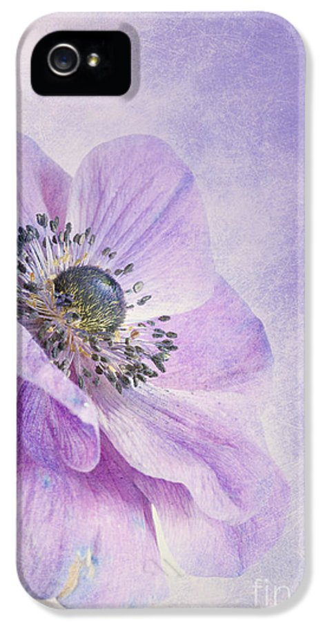 Purple IPhone 5 / 5s Case featuring the photograph Anemone by Priska Wettstein