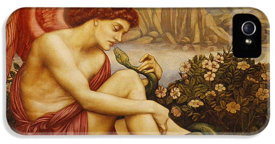 De Morgan; Dress; Early 20th Century; Early Twentieth Century; Ethnic Origin; European Artist; Expression; Evelyn De Morgan; Fine Art; Foliage; Forward; Full Length; Full-length; Garment; Hair; Hair Red; Human; Hypnotic; Hypnotised; Injured; Injury; Looking; Looking Down; Looking Up; Male; Man; Men; Mountain; Mountainous; Mountainscape; Natural Space; Negative Concept; Nineteenth Century; Rural; Seated; Serpent; Side; Side View; Sitting; Snake; Suffering; Wound; Young Adult; Young Men; Young Man IPhone 5 / 5s Case featuring the painting Angel With Serpent by Evelyn De Morgan