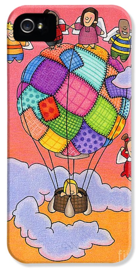 Angels IPhone 5 / 5s Case featuring the drawing Angels With Hot Air Balloon by Sarah Batalka