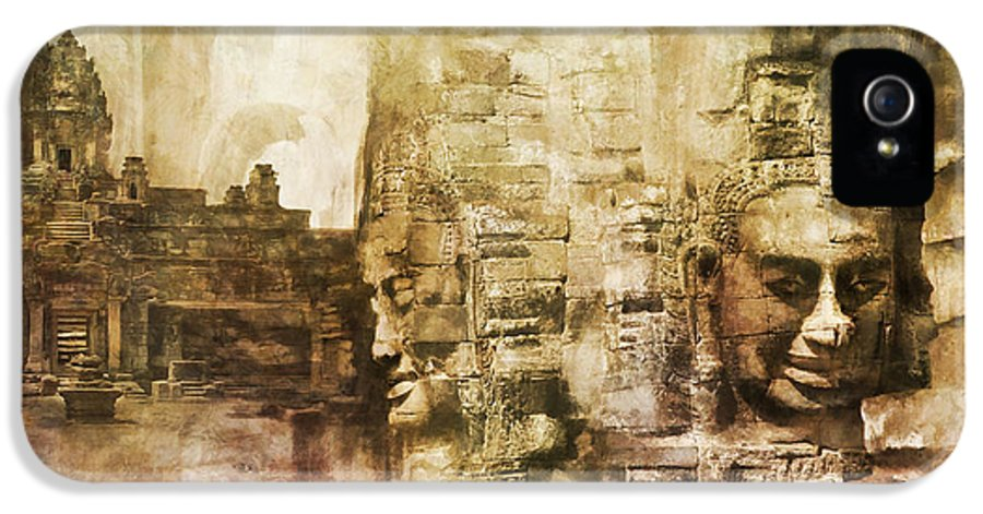 Combodia Art IPhone 5 / 5s Case featuring the painting Angkor by Catf