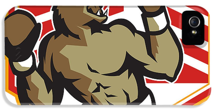 Bear IPhone 5 / 5s Case featuring the digital art Angry Bear Boxer Boxing Retro by Aloysius Patrimonio
