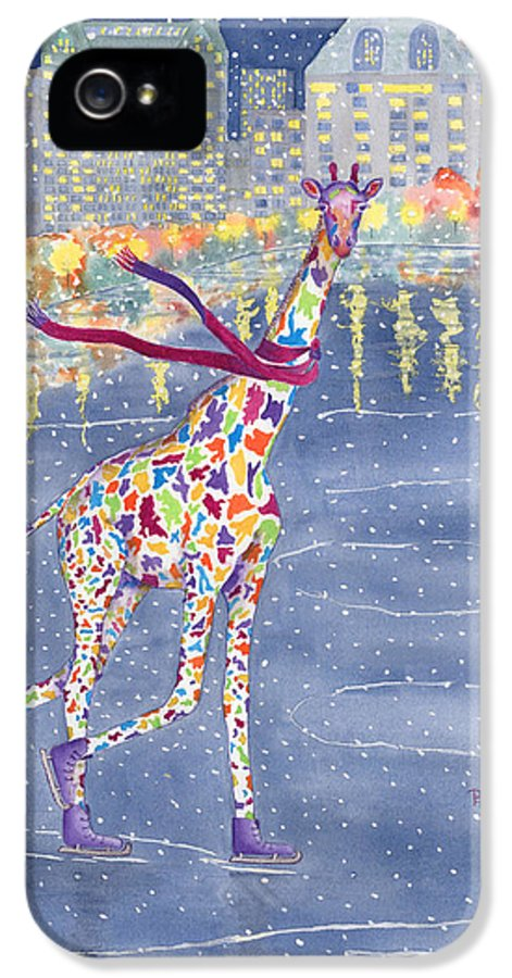 Giraffe IPhone 5 / 5s Case featuring the painting Annabelle On Ice by Rhonda Leonard