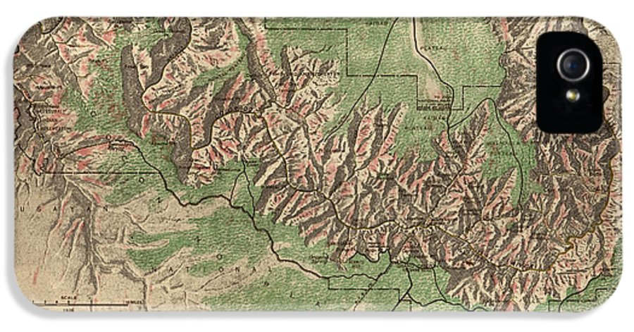 Grand Canyon National Park IPhone 5 / 5s Case featuring the drawing Antique Map Of Grand Canyon National Park By The National Park Service - 1926 by Blue Monocle