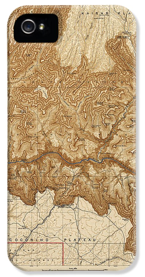 Grand Canyon National Park IPhone 5 / 5s Case featuring the drawing Antique Map Of Grand Canyon National Park - Usgs Topographic Map - 1903 by Blue Monocle