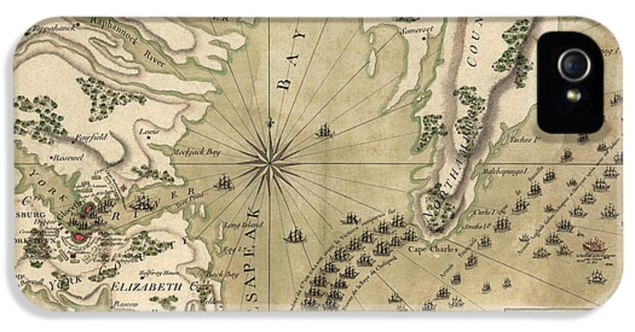 Yorktown IPhone 5 / 5s Case featuring the drawing Antique Map Of The Battle Of Yorktown Virginia By Esnauts Et Rapilly - Circa 1781 by Blue Monocle