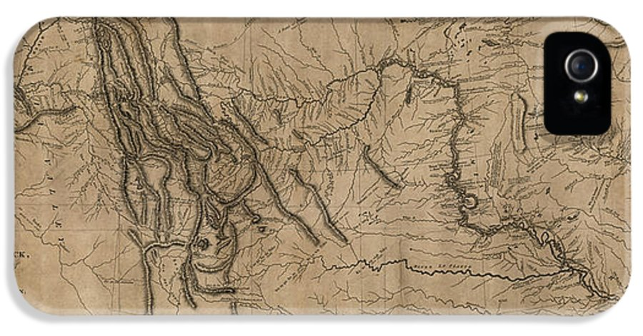 Lewis And Clark IPhone 5 / 5s Case featuring the drawing Antique Map Of The Lewis And Clark Expedition By Samuel Lewis - 1814 by Blue Monocle
