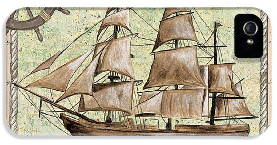 Aqua IPhone 5 / 5s Case featuring the painting Aqua Maritime 1 by Debbie DeWitt