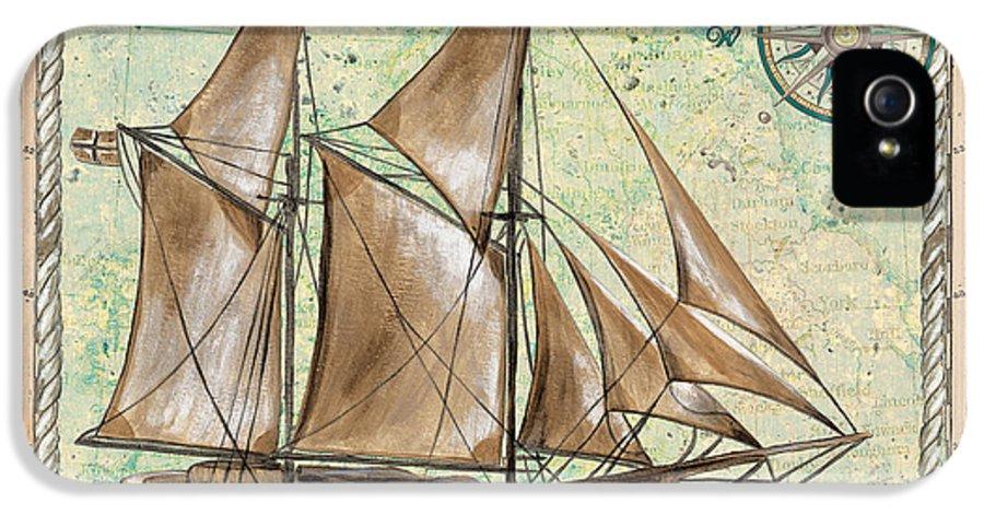 Aqua IPhone 5 / 5s Case featuring the painting Aqua Maritime 2 by Debbie DeWitt