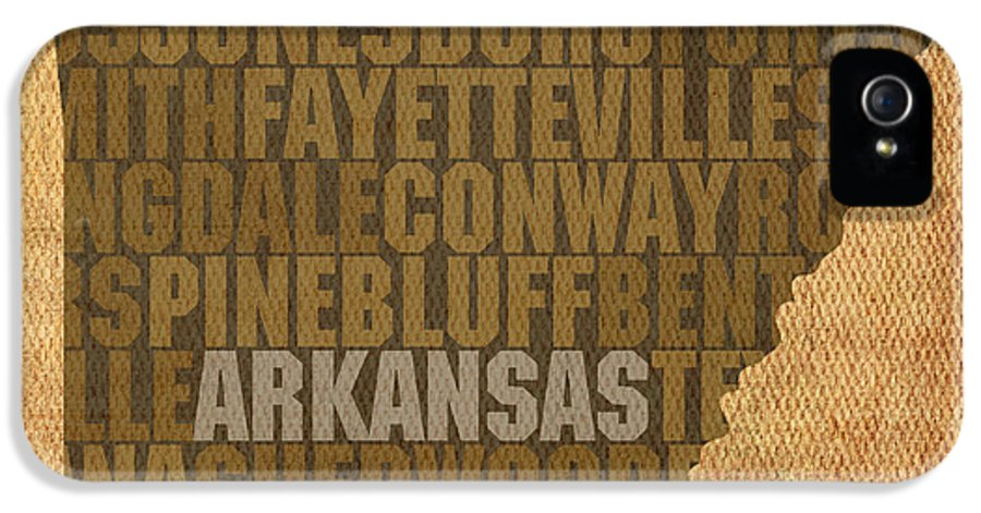 Arkansas Word Art State Map On Canvas IPhone 5 / 5s Case featuring the mixed media Arkansas Word Art State Map On Canvas by Design Turnpike
