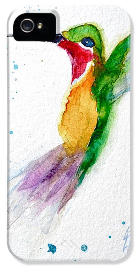 Hummingbird IPhone 5 / 5s Case featuring the painting Arriving by Beverley Harper Tinsley