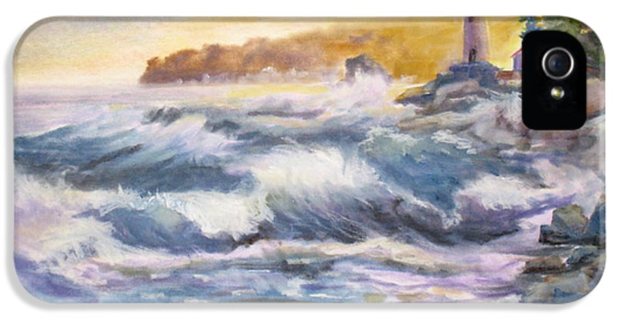 Atlantic IPhone 5 / 5s Case featuring the painting Atlantic Agitation by Mohamed Hirji