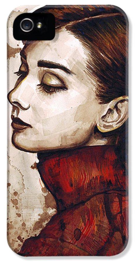 Audrey Hepburn IPhone 5 / 5s Case featuring the painting Audrey Hepburn by Olga Shvartsur