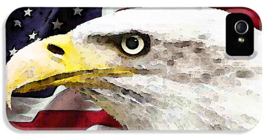 America IPhone 5 / 5s Case featuring the painting Bald Eagle Art - Old Glory - American Flag by Sharon Cummings