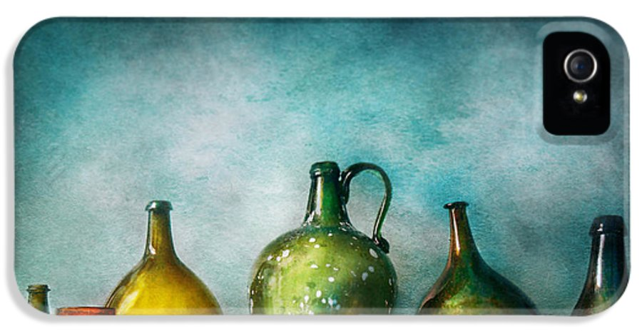 Jug IPhone 5 / 5s Case featuring the photograph Bar - Bottles - Green Bottles by Mike Savad
