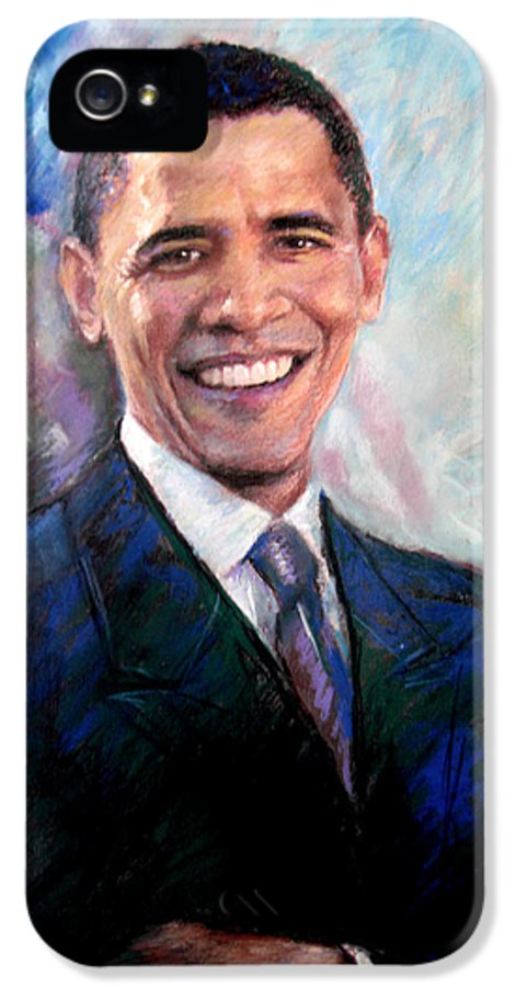 Barack Obama IPhone 5 / 5s Case featuring the drawing Barack Obama by Viola El