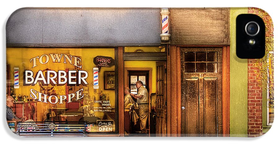 Hair IPhone 5 / 5s Case featuring the photograph Barber - Towne Barber Shop by Mike Savad