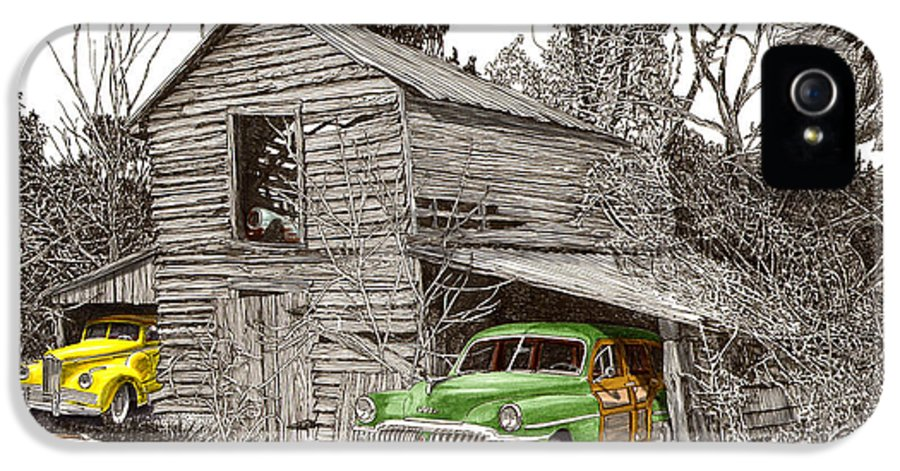 Classic Car Art IPhone 5 / 5s Case featuring the painting Barn Finds Classic Cars by Jack Pumphrey