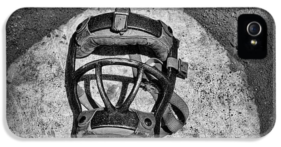 Paul Ward IPhone 5 / 5s Case featuring the photograph Baseball Catchers Mask Vintage In Black And White by Paul Ward