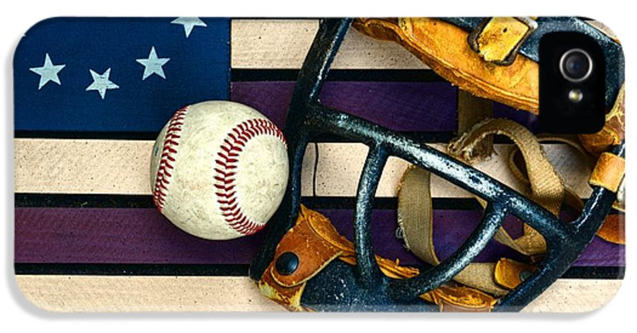Paul Ward IPhone 5 / 5s Case featuring the photograph Baseball Catchers Mask Vintage On American Flag by Paul Ward