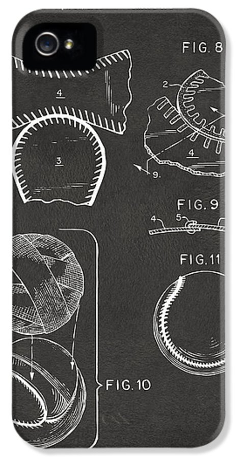 Baseball IPhone 5 / 5s Case featuring the drawing Baseball Construction Patent 2 - Gray by Nikki Marie Smith