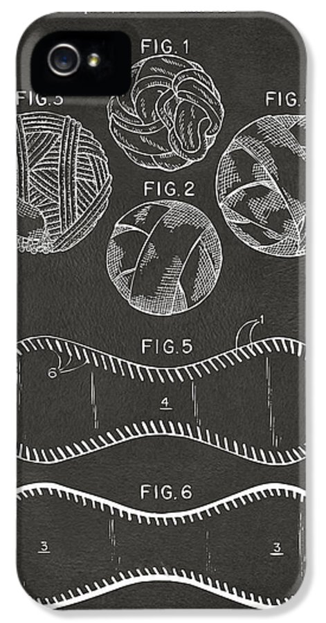 Baseball IPhone 5 / 5s Case featuring the drawing Baseball Construction Patent - Gray by Nikki Marie Smith