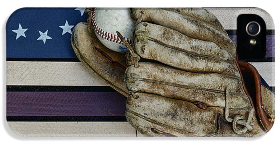 Paul Ward IPhone 5 / 5s Case featuring the photograph Baseball Mitt On American Flag Folk Art by Paul Ward