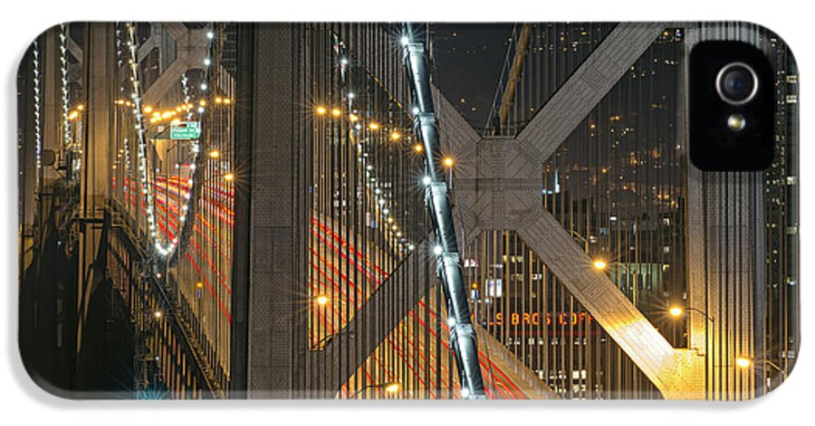 Bay Bridge Yerba Buena Island November 29 2013 IPhone 5 / 5s Case featuring the photograph Bay Bridge Night Colors by David Yu