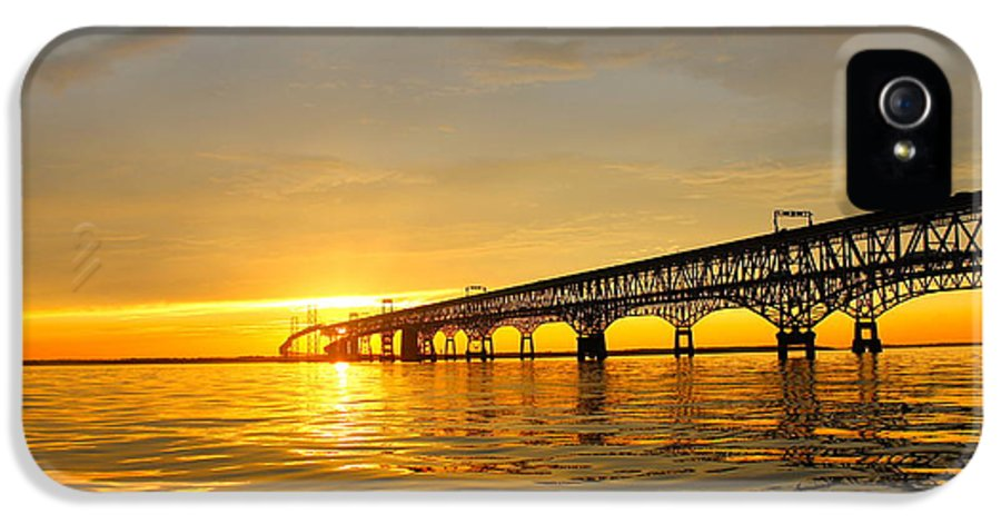 Bay Bridge IPhone 5 / 5s Case featuring the photograph Bay Bridge Sunset Glow by Jennifer Casey
