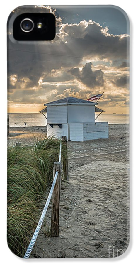 America IPhone 5 / 5s Case featuring the photograph Beach Entrance To Old Glory - Hdr Style by Ian Monk