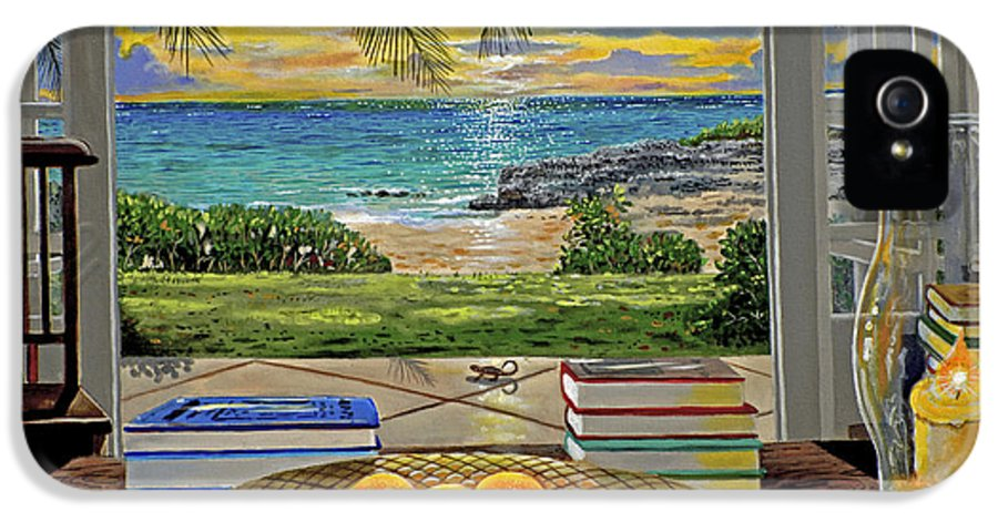 Beach IPhone 5 / 5s Case featuring the painting Beach View by Carey Chen