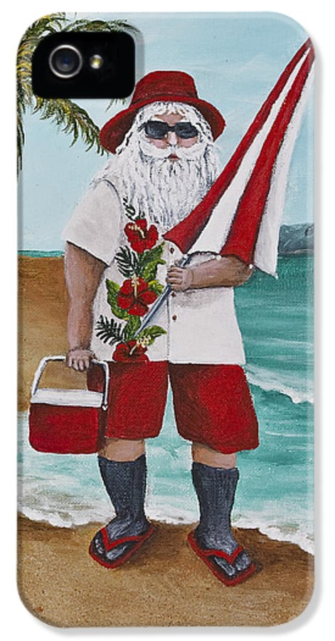 Christmas IPhone 5 / 5s Case featuring the painting Beachen Santa by Darice Machel McGuire