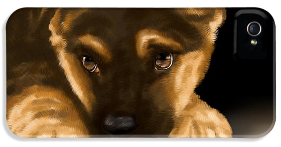 Digital IPhone 5 / 5s Case featuring the painting Beautiful Puppy by Veronica Minozzi