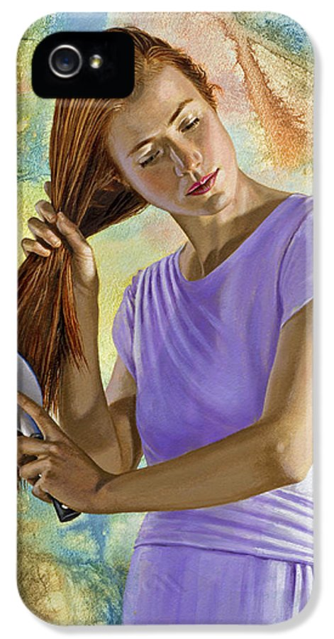 Figure IPhone 5 / 5s Case featuring the painting Becca Brushing Her Hair by Paul Krapf