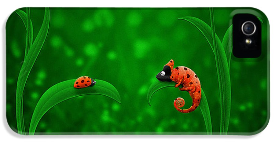 Abstract IPhone 5 / 5s Case featuring the drawing Beetle Chameleon by Gianfranco Weiss