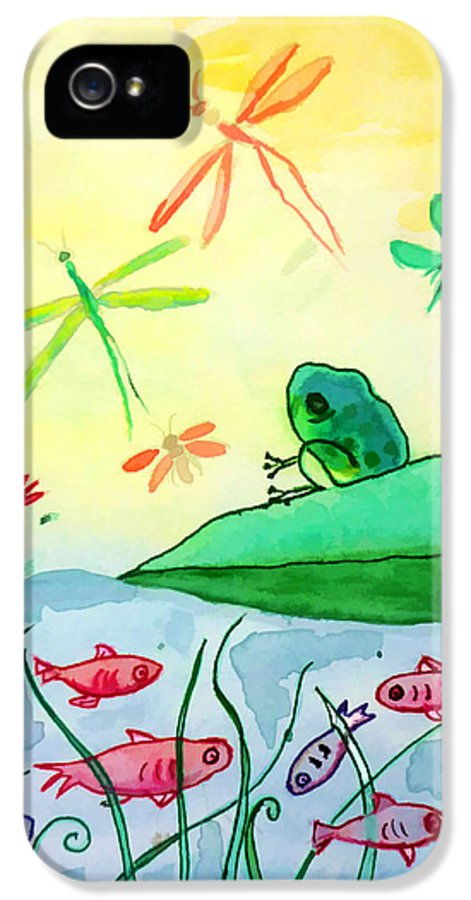 Frog IPhone 5 / 5s Case featuring the painting Between Two Worlds by Jo Ann