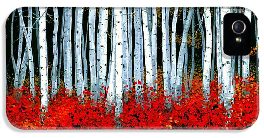 Birch IPhone 5 / 5s Case featuring the painting Birch 24 X 48 by Michael Swanson