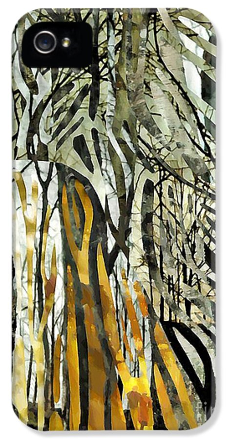 Abstract IPhone 5 / 5s Case featuring the mixed media Birch Forest by Sarah Loft