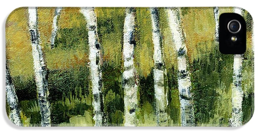 Trees IPhone 5 / 5s Case featuring the painting Birches On A Hill by Michelle Calkins