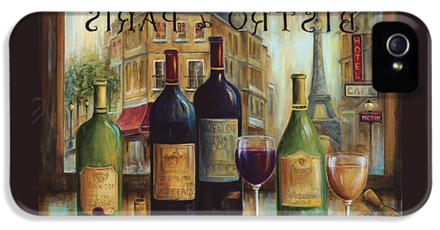 Wine IPhone 5 / 5s Case featuring the painting Bistro De Paris by Marilyn Dunlap