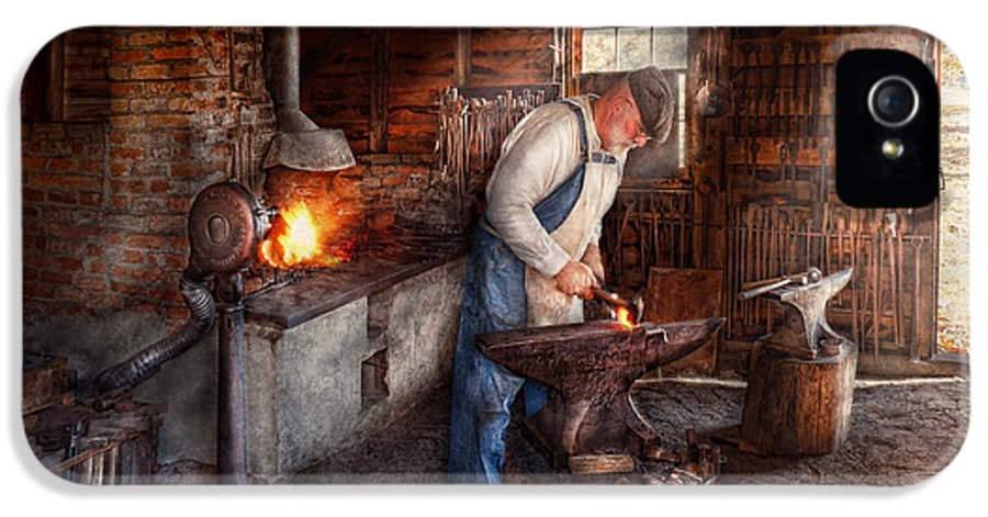 Blacksmith IPhone 5 / 5s Case featuring the photograph Blacksmith - The Smith by Mike Savad