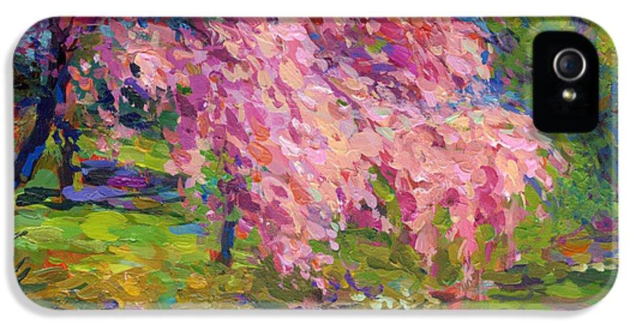 Blossoming Tree Painting IPhone 5 / 5s Case featuring the painting Blossoming Trees Landscape by Svetlana Novikova