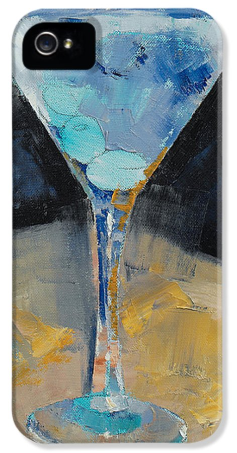 Cocktail IPhone 5 / 5s Case featuring the painting Blue Art Martini by Michael Creese