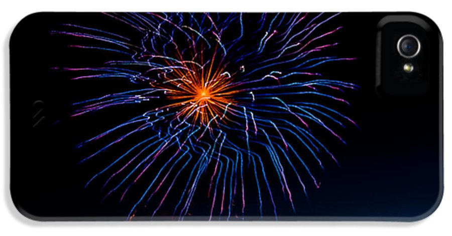 Fireworks IPhone 5 / 5s Case featuring the photograph Blue Firework Flower by Robert Bales