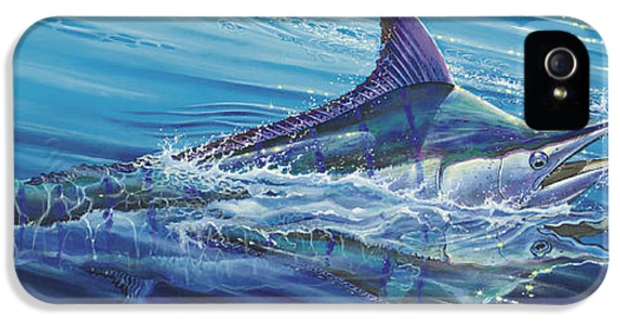 Blue IPhone 5 / 5s Case featuring the painting Blue Tranquility Off0051 by Carey Chen