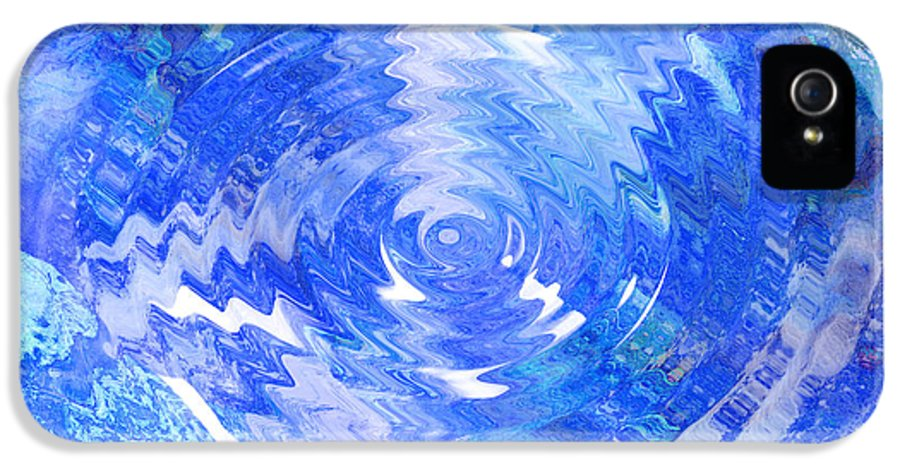 Blue IPhone 5 / 5s Case featuring the digital art Blue Twirl Abstract by Ann Powell
