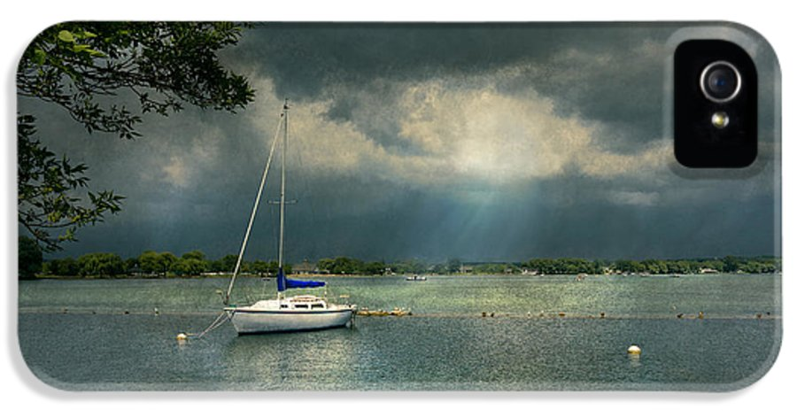 Name IPhone 5 / 5s Case featuring the photograph Boat - Canandaigua Ny - Tranquility Before The Storm by Mike Savad